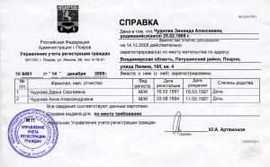 Справка о регистрации по месту жительства, пример