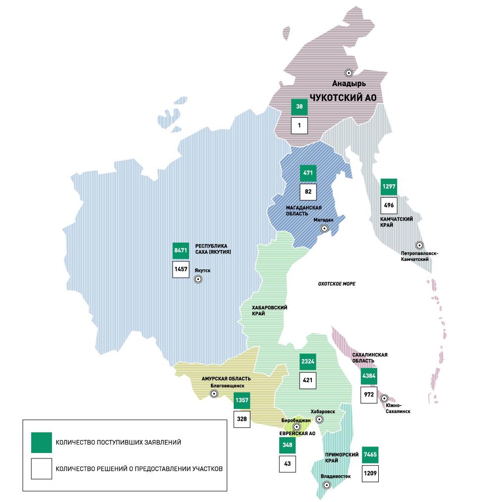 Карта бесплатных земель на Дальнем Востоке