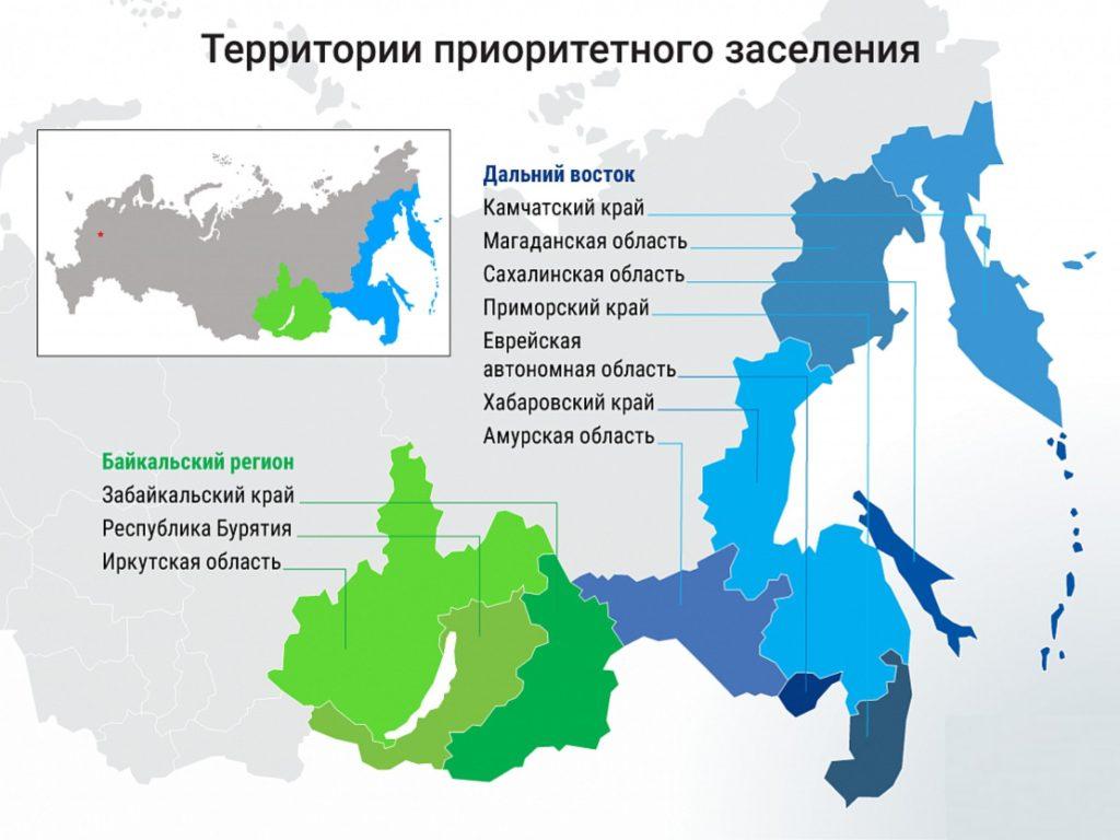 Территории приоритетного заселения по программе переселения соотечественников в Россию
